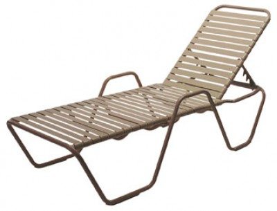 Pool Furniture Supply Commercial Chaise Lounge With Arms Vinyl Straps Alumin