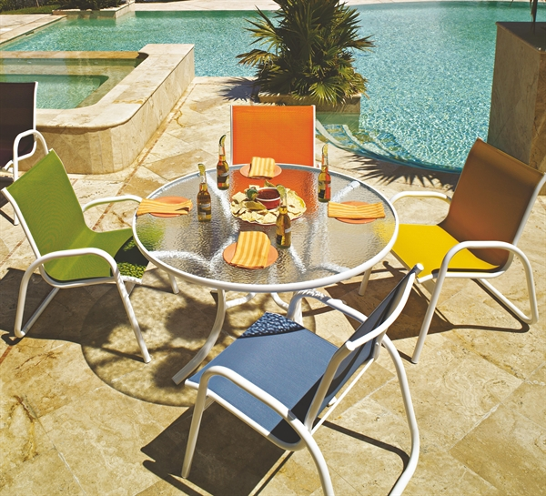 TSGardenellaSling - Pool Furniture Supply. Patio Set Fabric Sling Glass Table 42 Inch Round