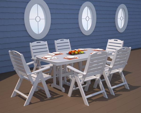Pool Furniture Supply Dining Table 32x72 Inch Rectangle Recycled Plastic
