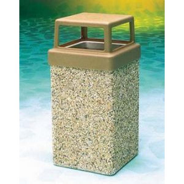 Pool Furniture Supply 9 Gallon Concrete Pool Deck Trash