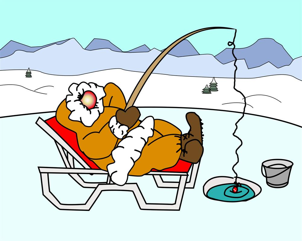 Ice Fishing on a Chaise Lounge - The Lazy Eskimo Cartoon