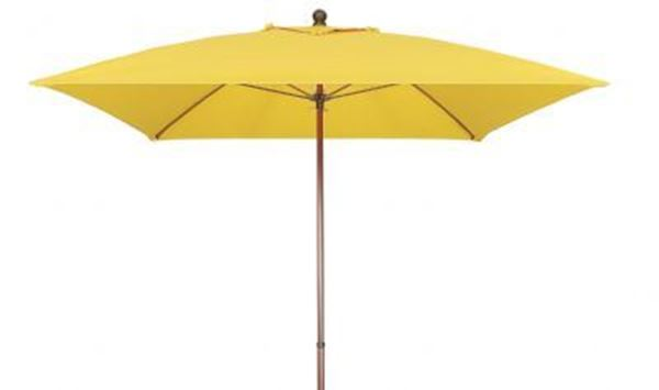 Fiberbuilt Bridgewater Style Market Umbrella 6 Foot Square with One Piece Simulated Wood Pole