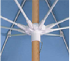 Picture of Fiberbuilt Beach Umbrella 7 1/2 Foot Octagon Two Piece Solid Wood Pole Marine Grade Fabric Top