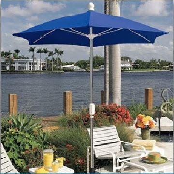 Picture of Fiberbuilt Patio Umbrella 7 1/2 Foot Hexagon with Two Piece Aluminum Pole and Spun Acrylic Top, 15 Lbs.