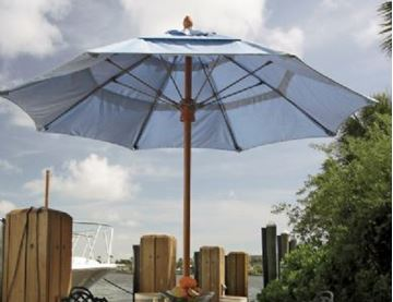 Fiberbuilt Bridgewater Style Market Umbrella 8 Foot Octagon with One Piece Simulated Wood Pole