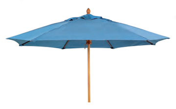 Picture of Fiberbuilt Bridgewater Style Market Umbrella 9 Foot Octagon with One Piece Simulated Wood Pole and Marine Grade Fabric