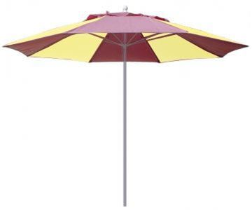 Picture of Fiberbuilt Market Umbrella 9 Foot Octagon with Two Piece Powder Coated Pole and Alternating Color Marine Grade Fabric