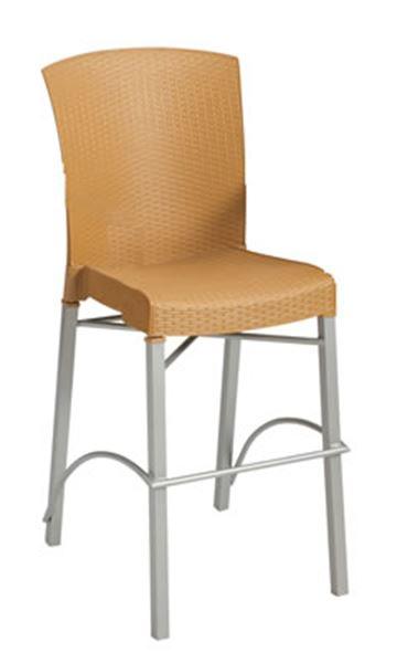 Bar Height Chair Simulated Resin Wicker Havana Pool