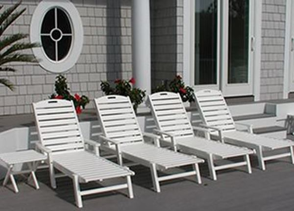 Picture of Polywood Nautical Recycled Plastic Chaise Lounge Set, Includes 4 Nautical Chaise Lounges with Arms and 2 Square Side Tables