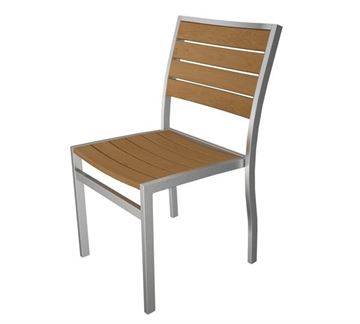 Picture of Polywood Euro Style Side Chair Teak Plastique Slats with Silver Aluminum Frame