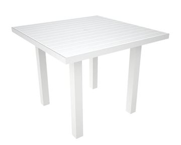 Picture of Polywood Euro Style 36 Inch Square Dining Table Recycled Plastic Polywood Slats with Aluminum Frame