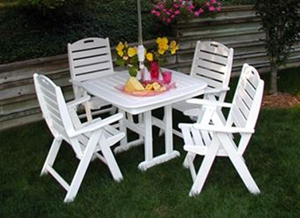 Polywood Nautical High Back Recycled Plastic Dining Set