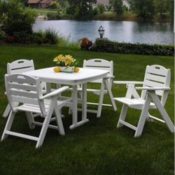 Picture of Polywood Nautical Lowback Recycled Plastic Dining Set, Includes 4 Nautical Style Lowback Arm Chairs with One Nautical Style 37 Inch Square Dining Table