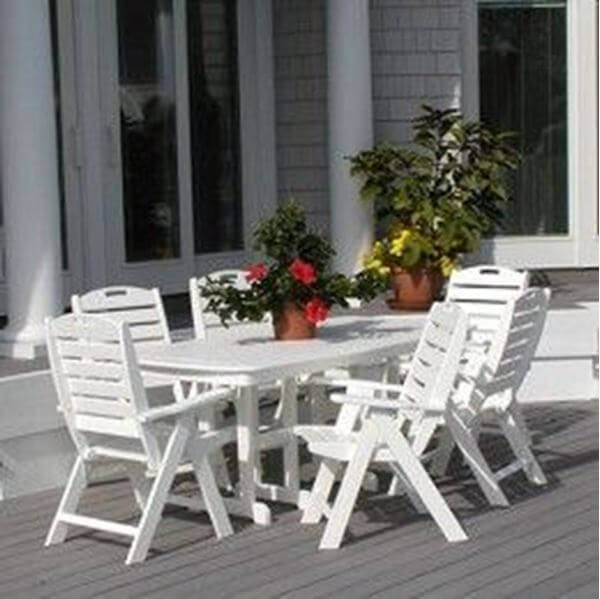 Picture of Polywood Nautical High Back Rectangle Recycled Plastic Dining Set, Includes 6 Nautical Style Highback Arm Chairs with One Nautical Style 37x72 Inch Oval Dining Table