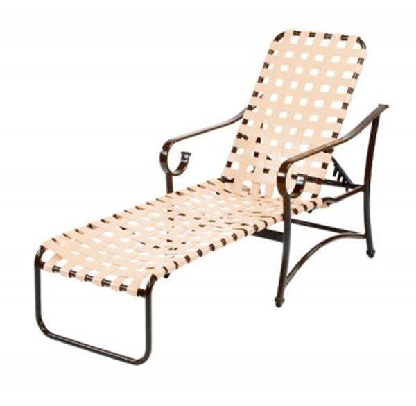 Picture of Barbados Cross Weave Chaise Lounge with Arms Vinyl Strap with Aluminum Frame