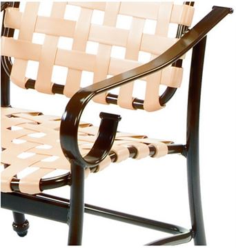 Picture of Barbados Cross Weave Bar Stool with Arms,  Vinyl Strap with Aluminum Frame Pool Furniture