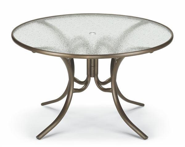 Dining Table 42 Inch Round Glass Aluminum Frame Pool Furniture Supply