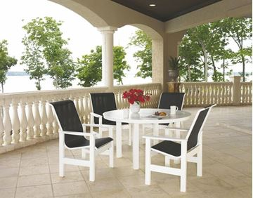 Picture of Telescope Leeward Patio Set Includes 4 Sling Arm Chairs and a 54 Inch Marine Grade Polymer Round Dining Table