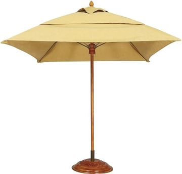 Picture of Fiberbuilt Augusta Market Umbrella 7 1/2 Foot Square with One Piece Simulated Wood Pole and Marine Grade Fabric