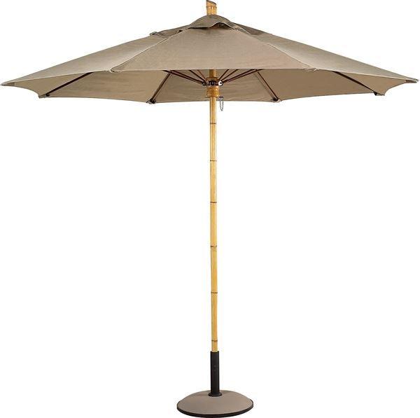 Fiberbuilt Bambusa Market Umbrella 8 Foot Octagon with One Piece Simulated Bamboo Pole and Marine Grade Fabric