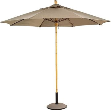 Picture of Fiberbuilt Bambusa Market Umbrella 11 Foot Octagon with One Piece Simulated Bamboo Pole and Marine Grade Fabric
