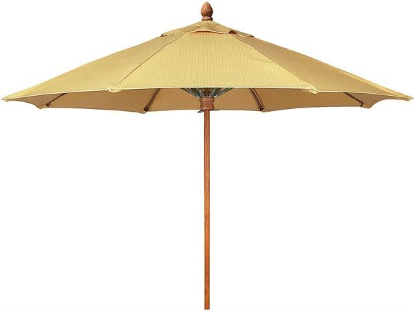 Fiberbuilt Bridgewater Style Market Umbrella 11 Foot Octagon with One Piece Simulated Wood Pole