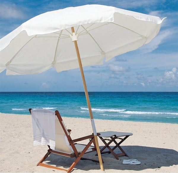 Picture of Fiberbuilt Beach Umbrella 7 1/2 Foot HEXAGON Two Piece Solid Wood Pole Marine Grade Fabric Top