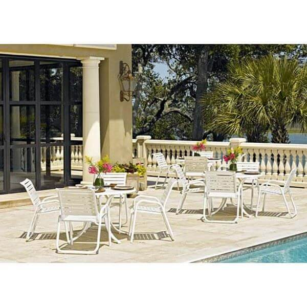 Reliance Patio Set Includes 4 Vinyl Strap Chairs and a 42 Inch Round tempered Acrylic Table