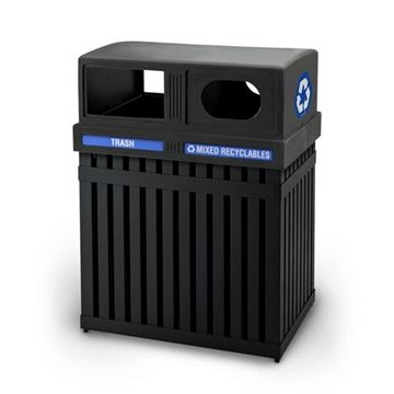Picture of Combo Trash/Recycle Parkview Double Sided Receptacle, 100 Lbs.