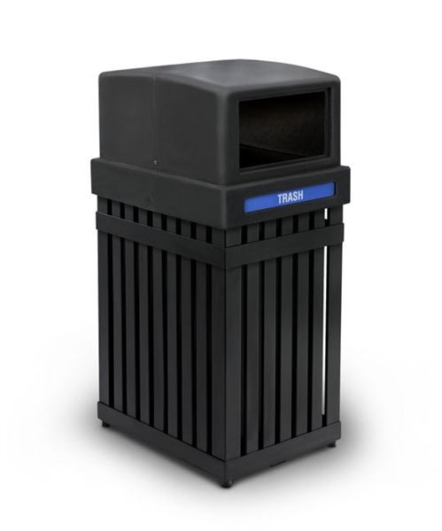 25 Gallon ArchTec Parkview Trash or Recycling Receptacle with Square Opening