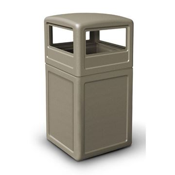 42 Gallon Square Pool Deck Trash Can with Dome Top