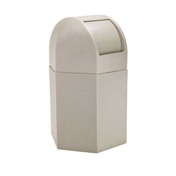 45 Gallon Plastic Pool Deck Trash Can Hexagon With Dome