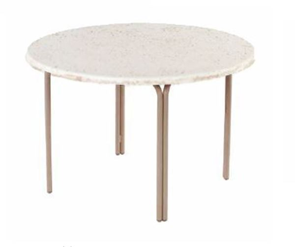 "ADA Compliant 48"" Round Faux Stone Swimming Pool Dining Table"