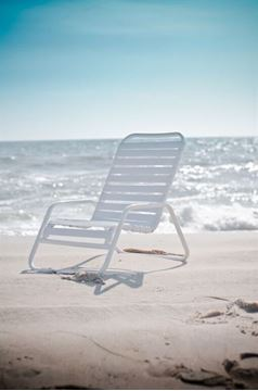 Picture of Quick Ship Pool Furniture, Sand Chair with Vinyl Straps and Stackable Aluminum Frame, All White