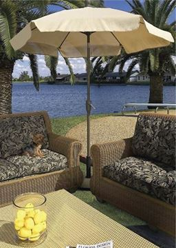 Picture of Fiberbuilt Garden Umbrella 7 1/2 Foot Hexagon with Two Piece Aluminum Pole and Texilene Vinyl Coated Top