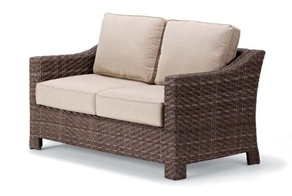 Picture of Telescope Outdoor Pool Deck and Patio Wicker Two-Seat Loveseat with Cushion, Lake Shore Wicker Collection