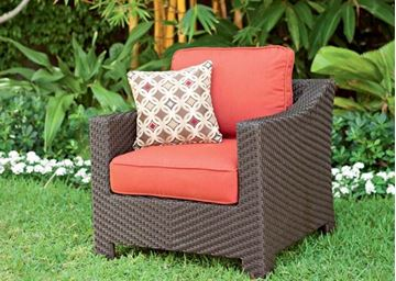 Telescope Outdoor Pool Deck and Patio Wicker Arm Chair with Cushion