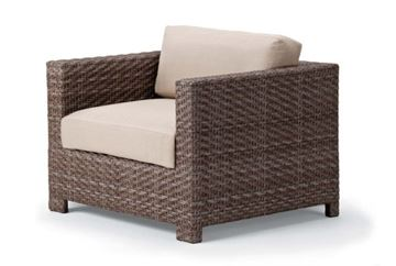 Picture of Telescope Outdoor Pool Deck and Patio Wicker Arm Chair with Cushion, La Vie Wicker Collection