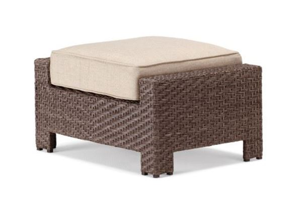 Outdoor Pool Deck and Patio Wicker Ottoman with Cushion