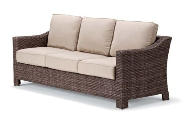 Picture of Telescope Outdoor Pool Deck and Patio Wicker Three-Seat Loveseat with Cushion, Lake Shore Wicker Collection
