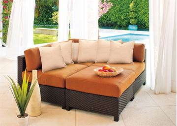 Picture of Telescope Outdoor Pool Deck and Patio Wicker Ottoman with Cushion, La Vie Wicker Collection