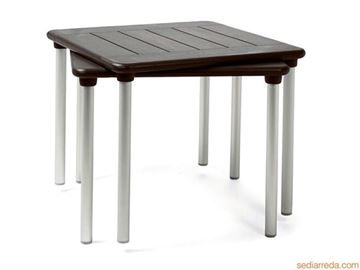 "Picture of 35"" Square Maestrale Stackable Pool Dining Table, Plastic Resin, 29 lbs."