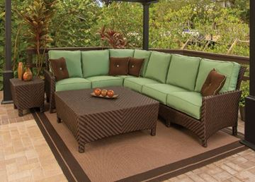 Picture of Sectional Wicker Box & Welt Deep Seat Cushion Left Arm Love Seat, Palmer Woven Collection, 45 lbs.
