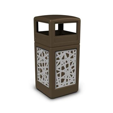 42 Gallon Dome Top Plastic Trash Receptacle with Decorative Stainless Steel Panels