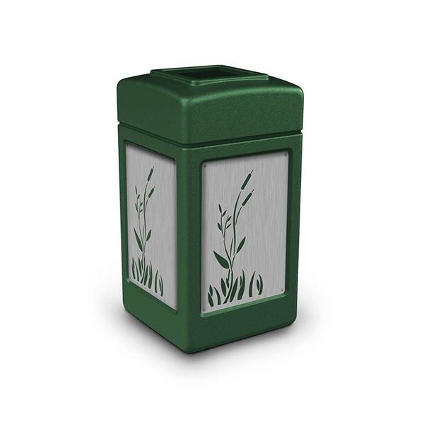 Picture of 42 Gallon Open Top Plastic Trash Receptacle with Decorative Stainless Steel Panels - 28 lbs.