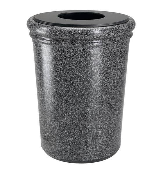 50 Gallon Stone Tec Commercial Round Polymer Concrete Plastic Trash Receptacle 175 Lbs