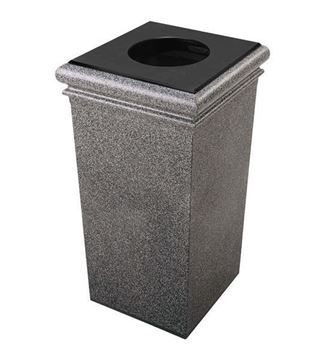 30 Gallon Stone Tec Square Polymer Concrete Plastic Trash Receptacle