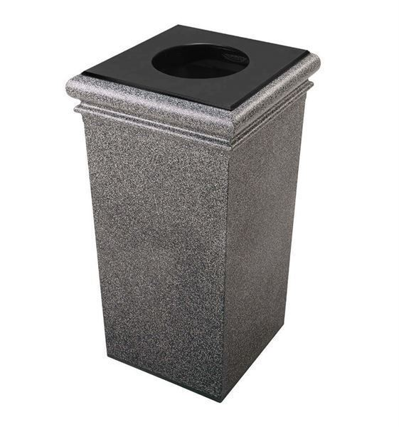 Picture of 30 Gallon Stone Tec Square Polymer Concrete Plastic Trash Receptacle - 115 lbs.
