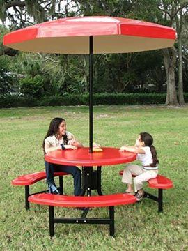 Umbrella 8 foot Octagonal Valance Fiberglass Top with 1 1/2 Inch Powder Coated Black Pole