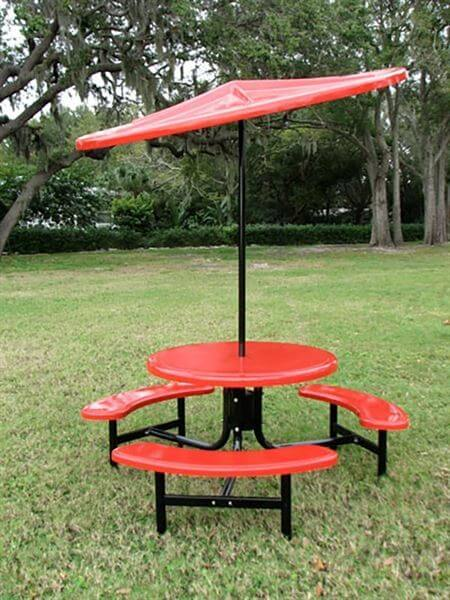 Umbrella 8 foot Round Starburst Fiberglass Top with 1 1/2 Inch Powder Coated Black Pole